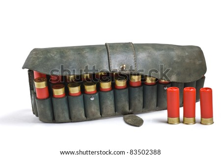 cartridge for hunting rifle with white background - stock photo