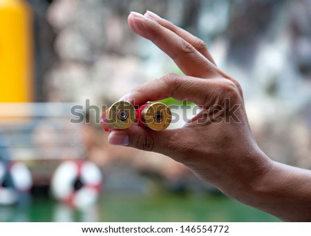 Cartridge Shotgun hand holding. - stock photo