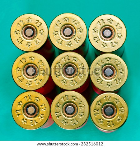 Cartridges of 12th caliber for a hunting rifle  - stock photo