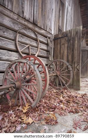 Cartwheels at the barn - stock photo