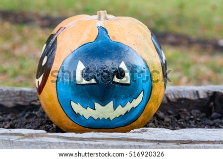 Carved and Painted Halloween pumpkin