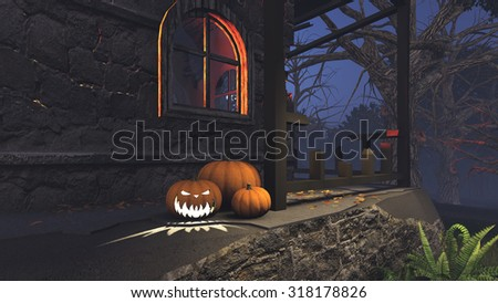 Carved Halloween pumpkins on the porch of the gloomy house at dark night. Realistic 3D illustration was done from my own 3D rendering file. - stock photo