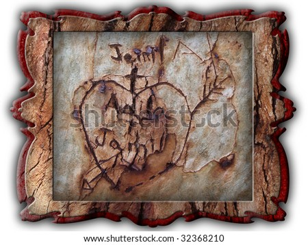 Carved heart on wood for backgrounds and different uses - stock photo