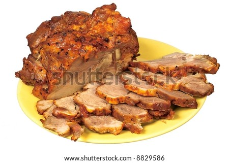 Carved roast pork on the yellow dish - stock photo