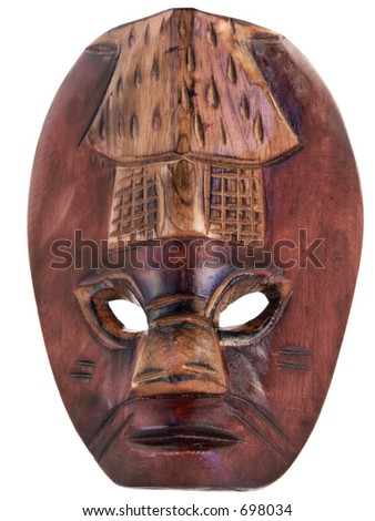 Carved tribal mask from island culture.