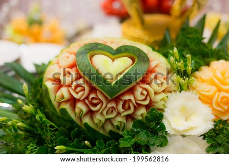 carved watermelon - stock photo