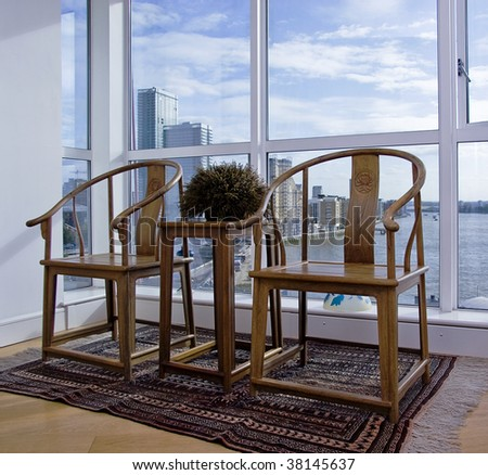 Bay window stock photos images pictures shutterstock for Floor to ceiling bay window
