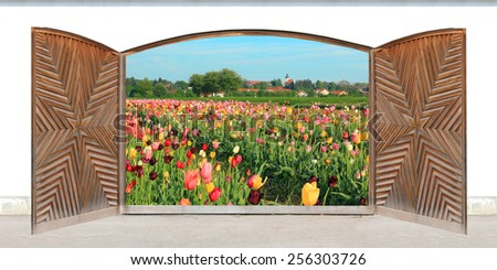 Carved wooden double door with view to spring landscape - stock photo