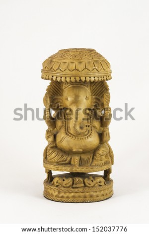 Carved Wooden Elephant God Ganesh from India souvenir