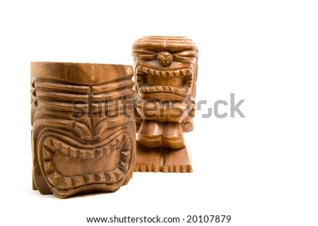 carved wooden tiki, isolated on white