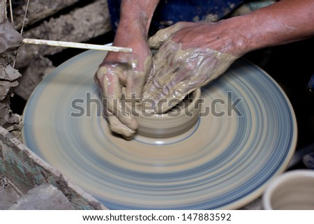 Carving clay for make earthenware.