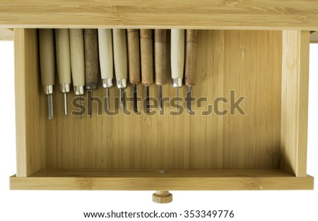 Carving tools in a Drawer - stock photo