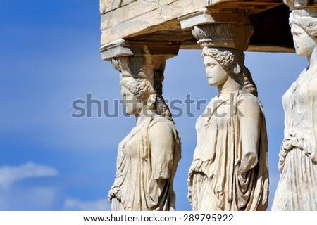 Caryatides at Acropolis, Athens, Greece - stock photo