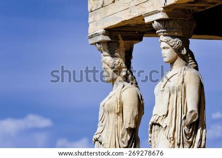 Caryatides, Erechtheion temple Acropolis in Athens, Greece - stock photo