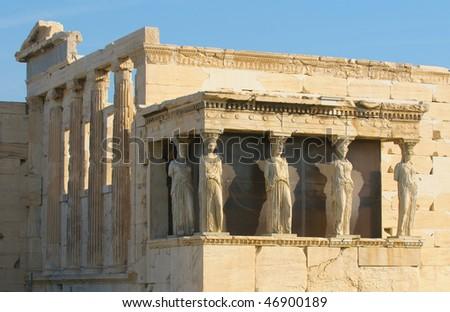 caryatids, acropolis, athens - stock photo
