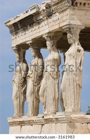 Caryatids at acropolis in Greece. - stock photo