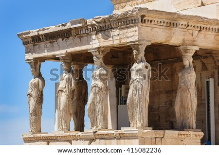 Caryatids at Porch of the Erechtheion, Acropolis - stock photo