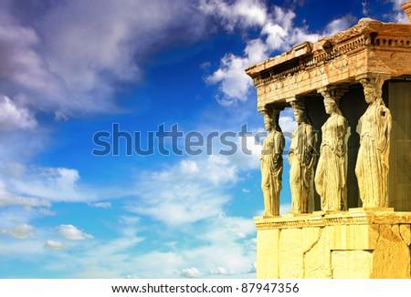 Caryatids, erechtheion temple Acropolis, Athens Greece - stock photo