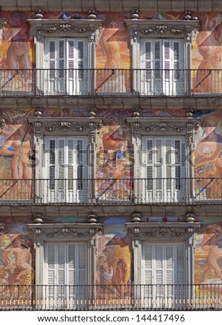 Casa de la Panaderia on Plaza Mayor in Madrid, Spain / architecture and art fragment - stock photo