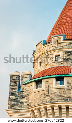 Casa Loma tower detail, Casa Loma is a Medieval Castle with Gothic Revival architecture that is a tourist landmark and a city symbol - stock photo
