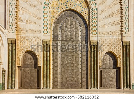 Casablanca, Morocco. entrance door of mosque Hassan II building