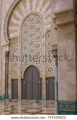 CASABLANCA, MOROCCO - May 6: The pattern of the exterior of Hassan II Mosque or Grande Mosquee Hassan II on May 6 2016. It is the largest mosque in Morocco and the 13th largest in the world.