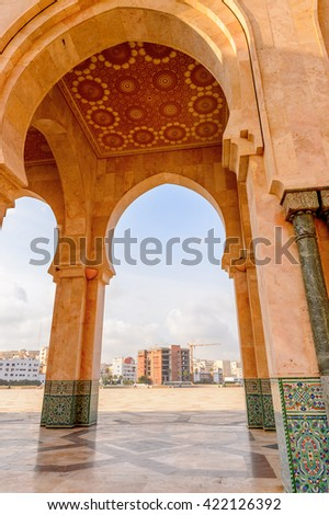 CASABLANCA, MOROCCO - SEP 1, 2015: Hassan II Mosque or Grande Mosquee Hassan II. It is the largest mosque in Morocco and the 13th largest in the world.