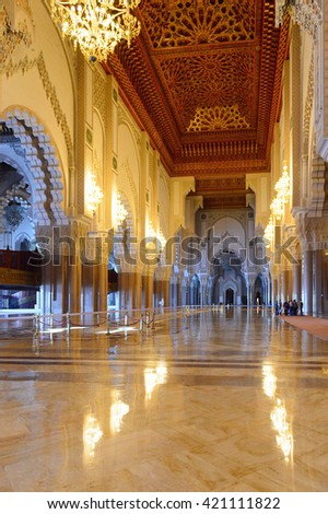 CASABLANCA, MOROCCO - SEP 1, 2016: Interior of the Hassan II Mosque or Grande Mosqu�©e Hassan II. It is the largest mosque in Morocco and the 13th largest in the world.
