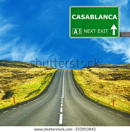 CASABLANCA road sign against clear blue sky - stock photo