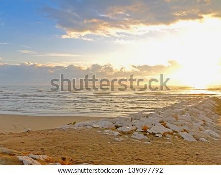 Casal Borsetti, Italy: Morning at the beach - stock photo