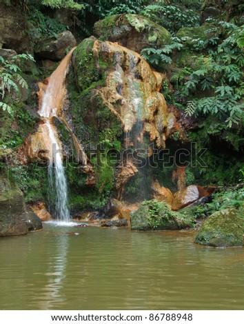 cascade at Sao Miguel Island - stock photo