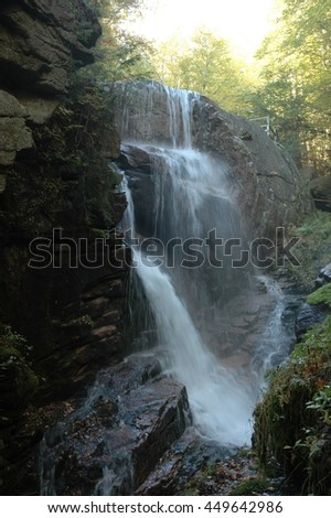 Cascade at the top of the Flume cataract, New Hampshire. - stock photo