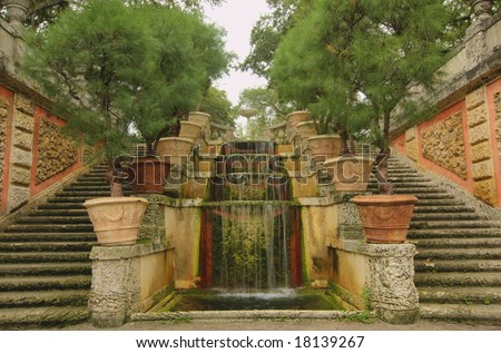 Cascade fountain - stock photo