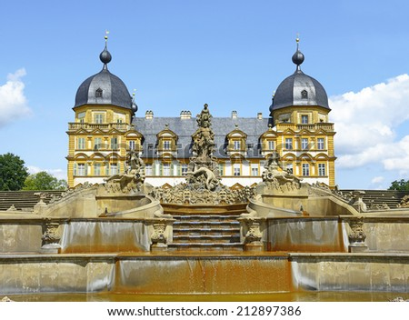 Cascade of Seehof Palace and Park - the summer residence of the prince-bishops of Bamberg. The cascade and the park figures are among the best sculptures in Upper Franconia, Bavaria, Germany. - stock photo