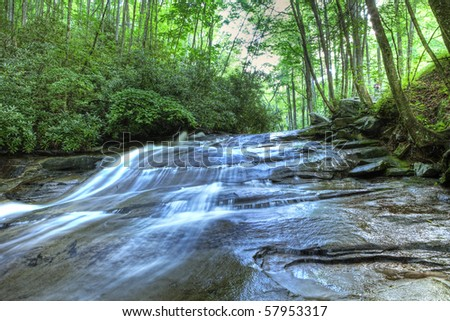 cascade of water through forest in north carolina