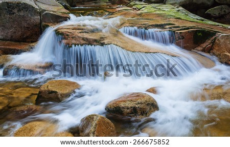 Cascade on the river in Czech - stock photo