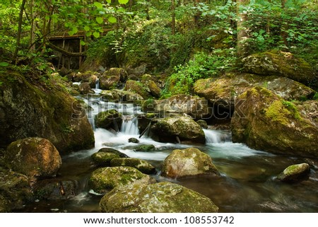 Cascade with mossy rocks in forest of temperate zone (Central Europe)