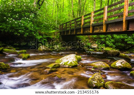 Cascades and walking bridge over the Oconaluftee River, at Great Smoky Mountains National Park, North Carolina. - stock photo