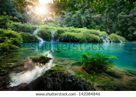 Cascades National Park in Guatemala Semuc Champey at sunset. - stock photo