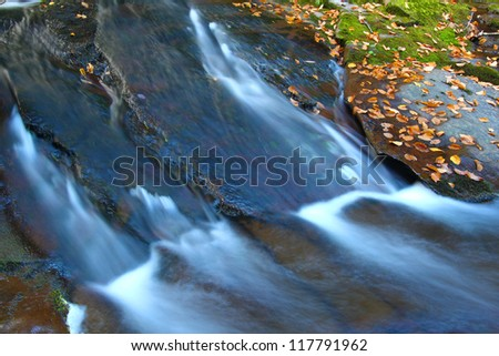 Cascades of the Union River Gorge in Porcupine Mountains Wilderness State Park - stock photo