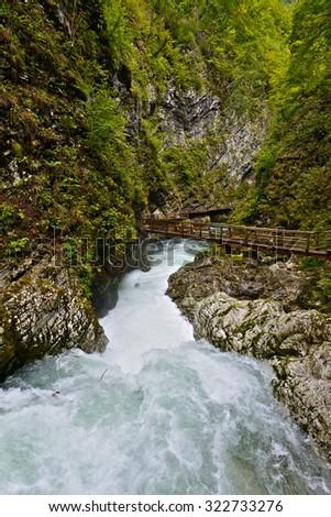 Cascades on the Radovna River,Vintgar Gorge,Slovenia. HDR. - stock photo