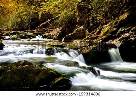 Cascades over the Nantahala River near Bryson City, North Carolina - stock photo