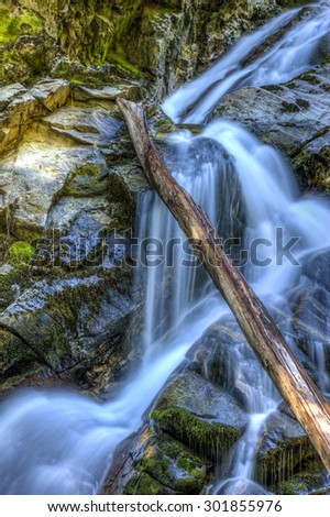 Cascading Snow Creek Falls near Kootenai Wildlife Refuge in Bonners Ferry, Idaho. - stock photo
