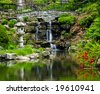 Cascading waterfall and pond in japanese garden - stock photo