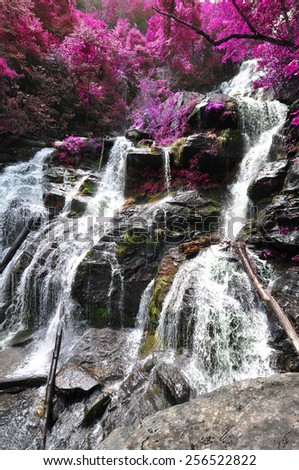 Cascading waterfall with edited foliage colors to look like flowering spring trees - stock photo