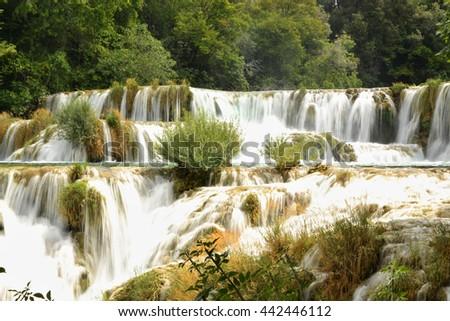 Cascading waterfalls, National park Krka, Croatia - stock photo