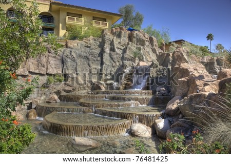 Cascading waters at a posh southwest resort