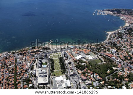 Cascais bay view from the sky - stock photo
