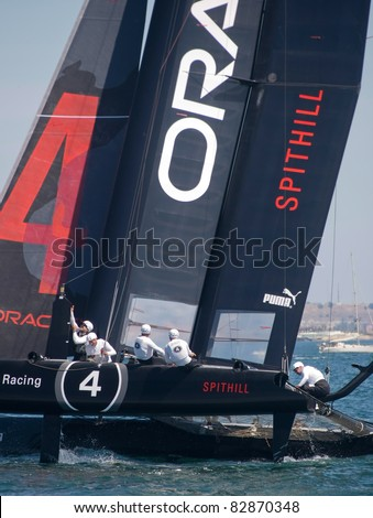 CASCAIS, PORTUGAL - AUGUST 14- America's Cup AC World Series - Fleet Race - Oracle Racing Spithill in Cascais, Portugal, August 14, 2011 - stock photo