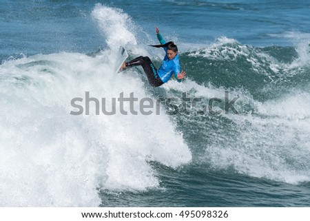 CASCAIS, PORTUGAL - SEPTEMBER 28, 2016: Malia Manuel (HAW) during the 2016 Cascais Women's Pro at Guincho's Beach - Cascais, Portugal.